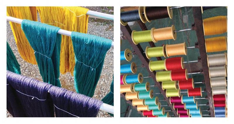 Entwicklung von neuen Farben; fertige Spulen für weitere Arbeitsschritte