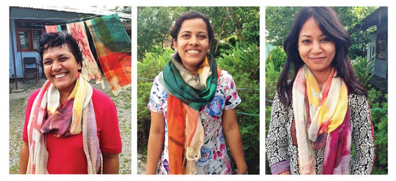Renu, Gründerin; Sarada, Verantwortlich für Voluntäre; Anupama Business Koordination