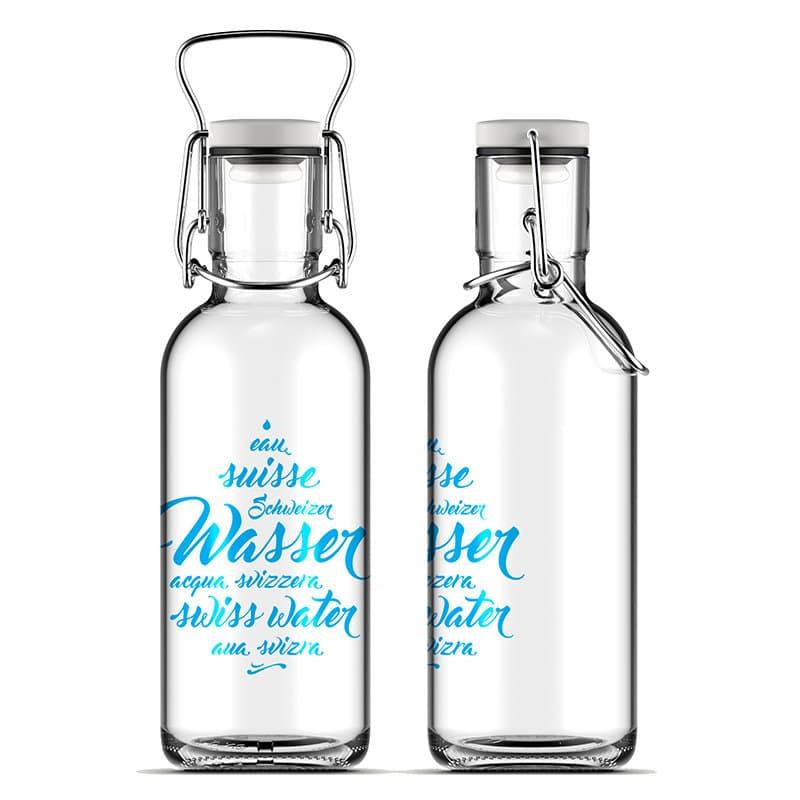 Schwiizer Wasser, Glas-Trinkflasche von FILL ME bottle | Changemaker