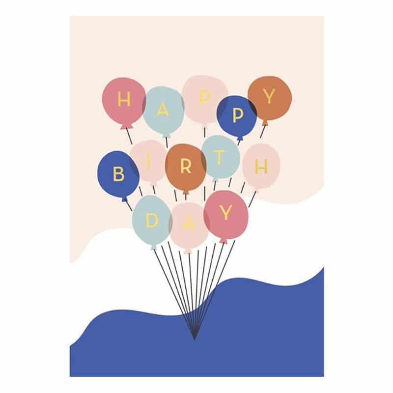 Happy Birthday Balloons, Postkarte Von Timi Of Sweden