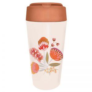 Schöner Mehrweg Becher mit Deckel. Design Blumenmotiv Protea