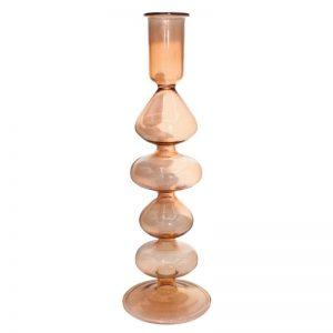 """Formschöner handgefertigter Kerzenständer """"Classic"""" aus Glas. Farbe Koralle"""