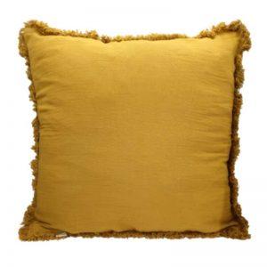 "Handgefertigtes Kissen ""Fringe"" 1-farbig gelb"