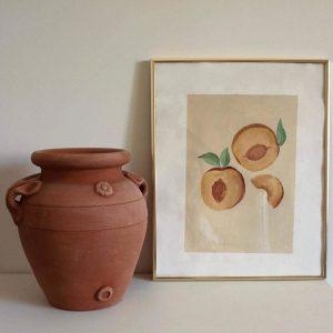 Kunstposter eines handgezeichneten Pfirsich